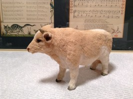Light Brown and White Guernsey Bull Animal Figurine Recycled Rabbit Fur image 3