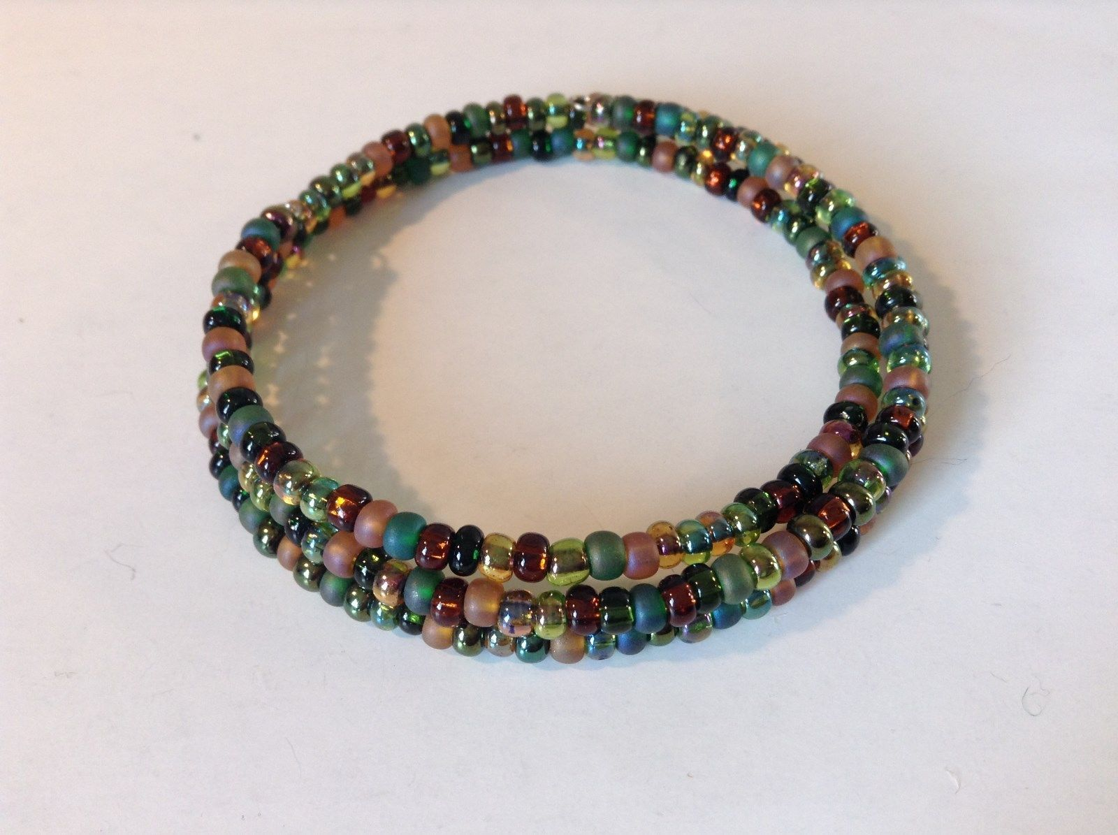 Pretty Multicolored Beaded Coil Bracelet Adjustable
