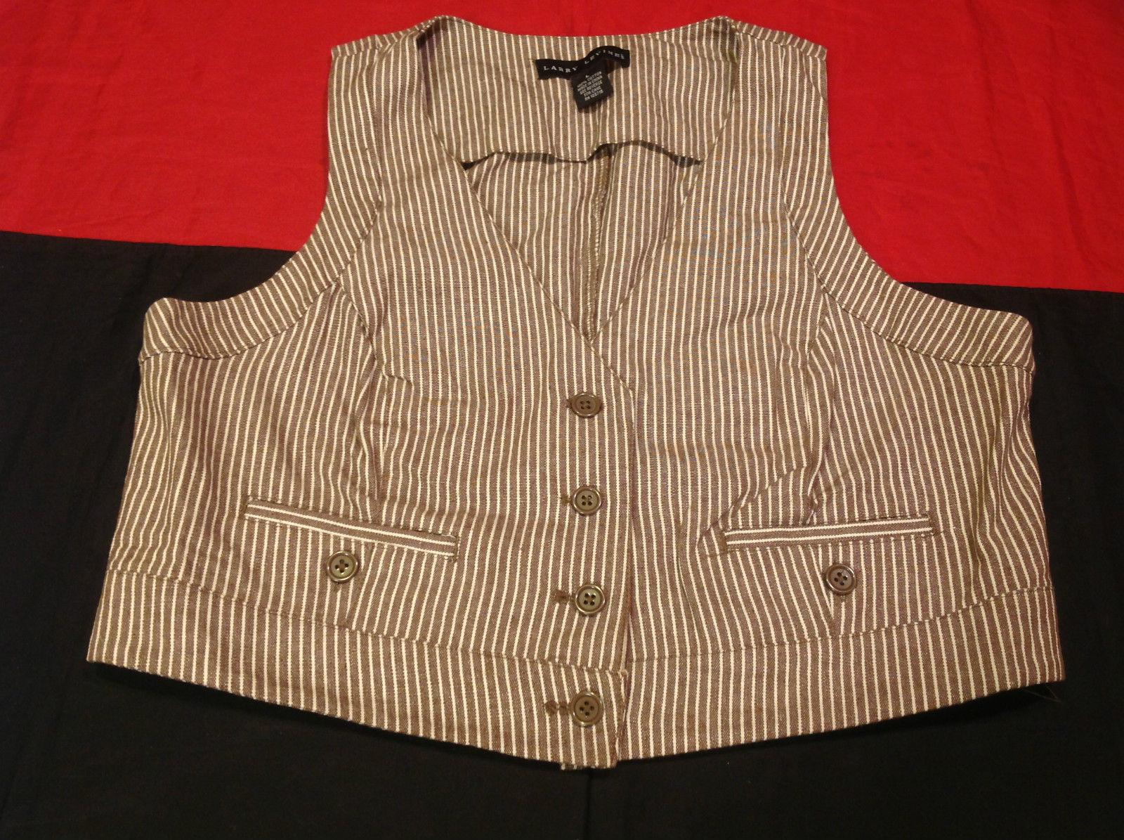 Pretty Larry Levine Ladies Brown Cream Colored Vest Size Large