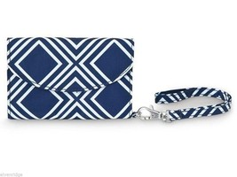 Navy Blue Geo Pattern Smart Phone Wristlet wallet