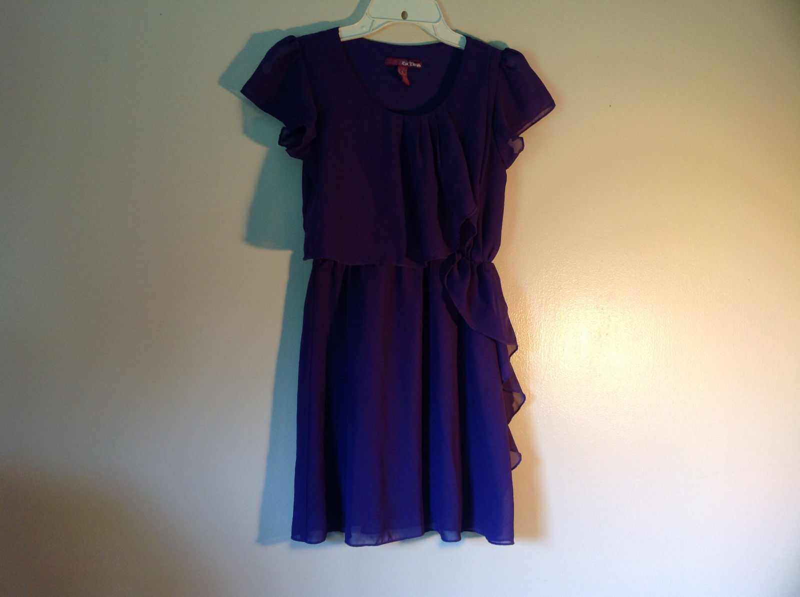 Pretty Purple Short Sleeved Ruffled Dress by Epic Threads Size Large