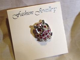 Pretty Pink Crystal Owl Silver Tone Pin