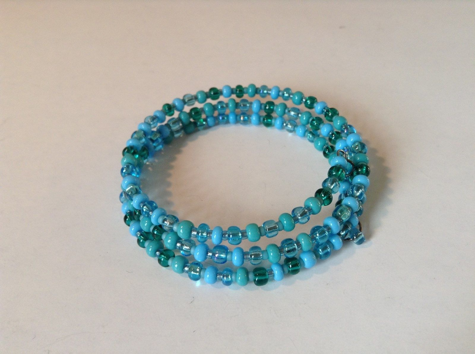 Pretty Light and Dark Blue Beaded Coil Adjustable Bracelet