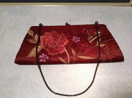 Pretty Red Floral Handbag Sequins and Beads By Accessorize image 1