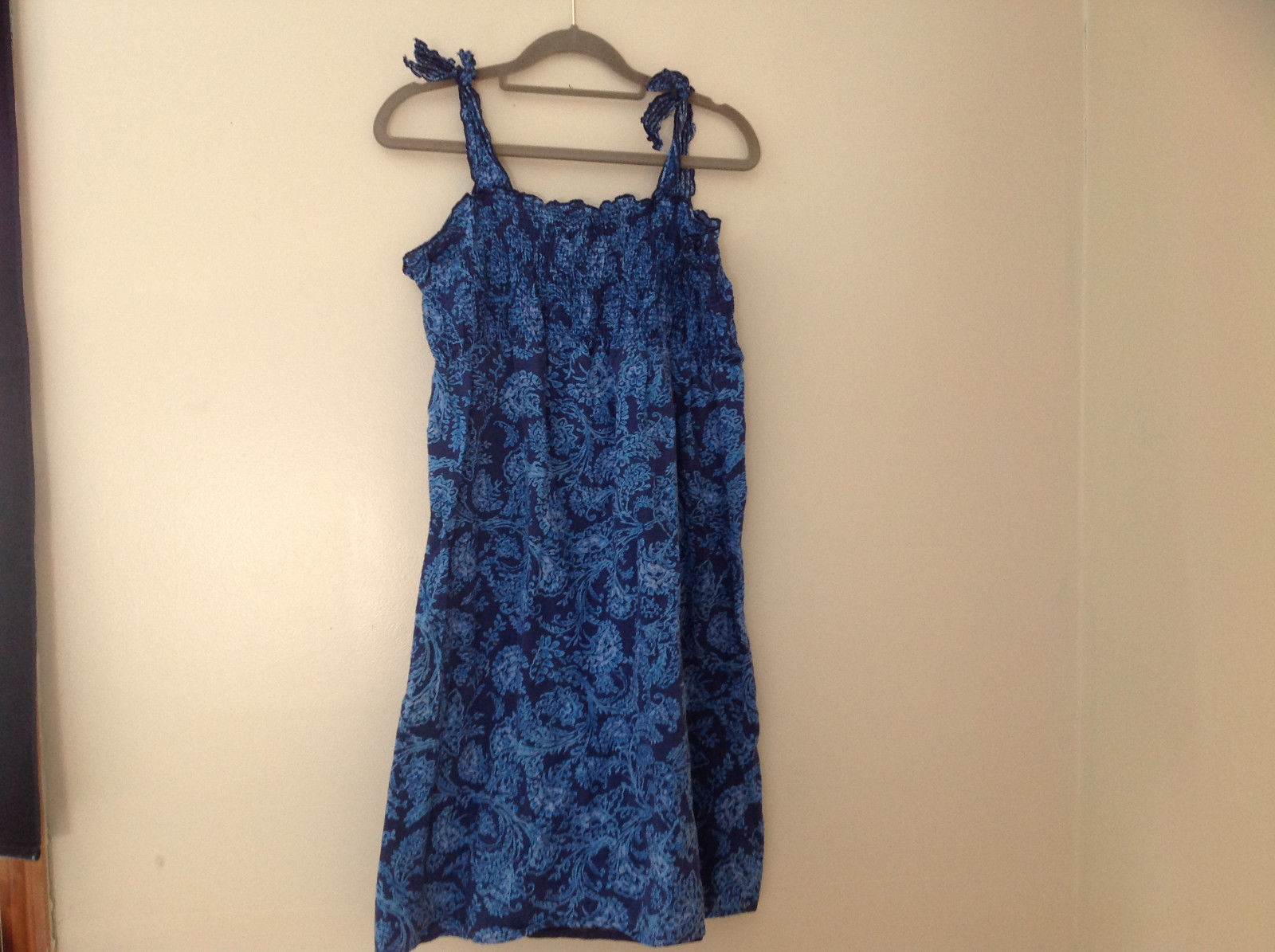 Navy Blue Flowery Design Tank Dress Made in Bangladesh Sonoma Size Large