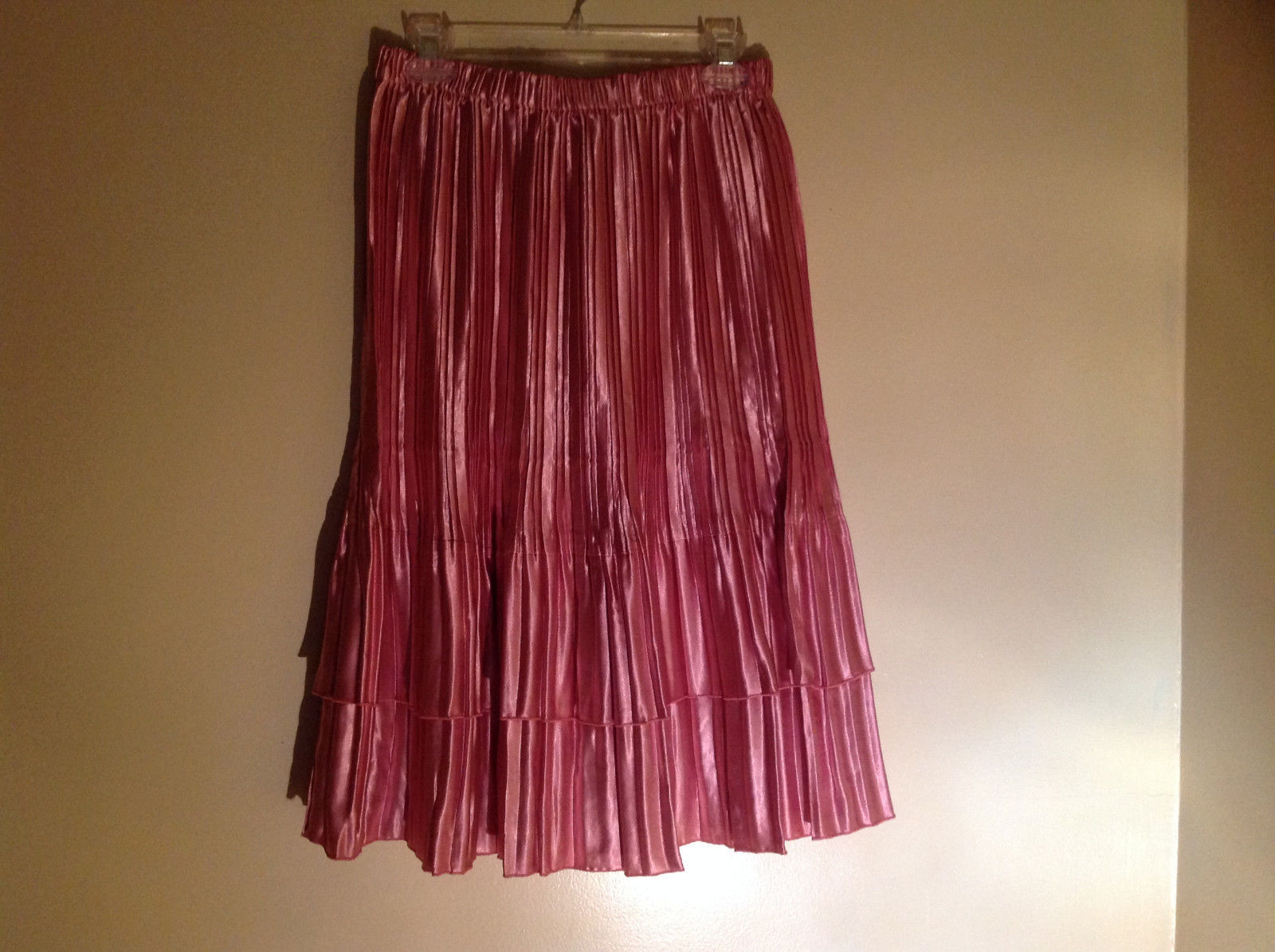 Pretty Pink Calf Length Pleated Skirt Shiny Material by Magic Scarf Co.