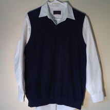 Navy Blue Bass Casual Sweater Vest V Neck 100 Percent Cotton Size Medium