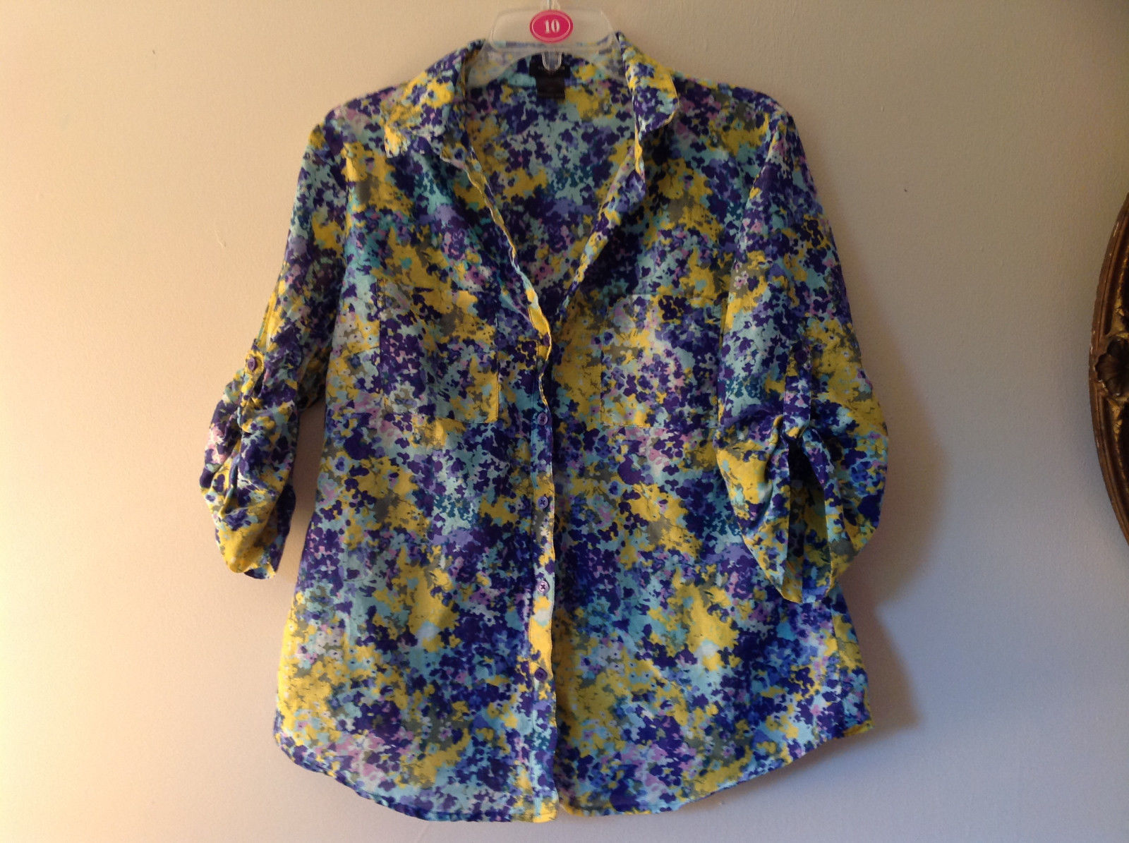 Navy Blue Yellow Floral Button Up Shirt by Ann Taylor V Neckline Collar Size 14