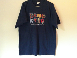 Navy Blue Short Sleeve Hong Kong Wonders Never Cease 100 Percent Cotton Size XL