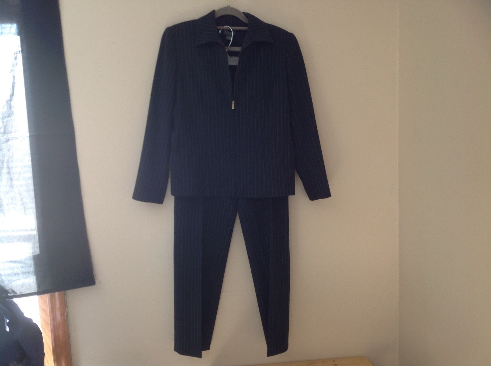 Navy Blue Pinstriped Pant Suit Rafaella Petites Jacket and Pants Size 4P