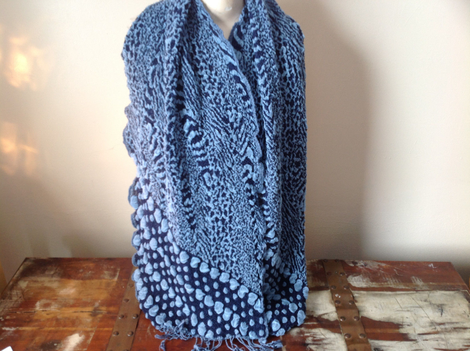 Navy Blue and Baby Blue Boho Style Scarf with Dots