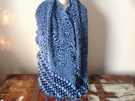 Navy Blue and Baby Blue Boho Style Scarf with Dots - £31.39 GBP