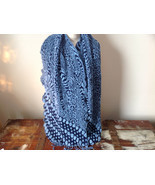 Navy Blue and Baby Blue Boho Style Scarf with Dots - £30.92 GBP