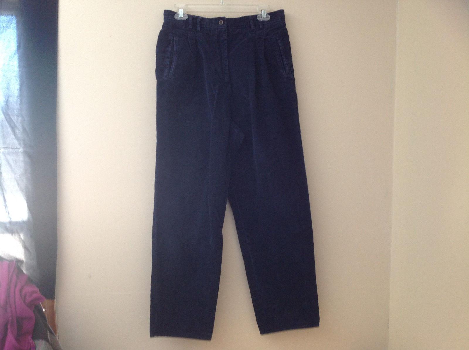 Navy Corduroy Pleated 3 Pocket Pants Double Button Zip Closure Rafaella Size 16