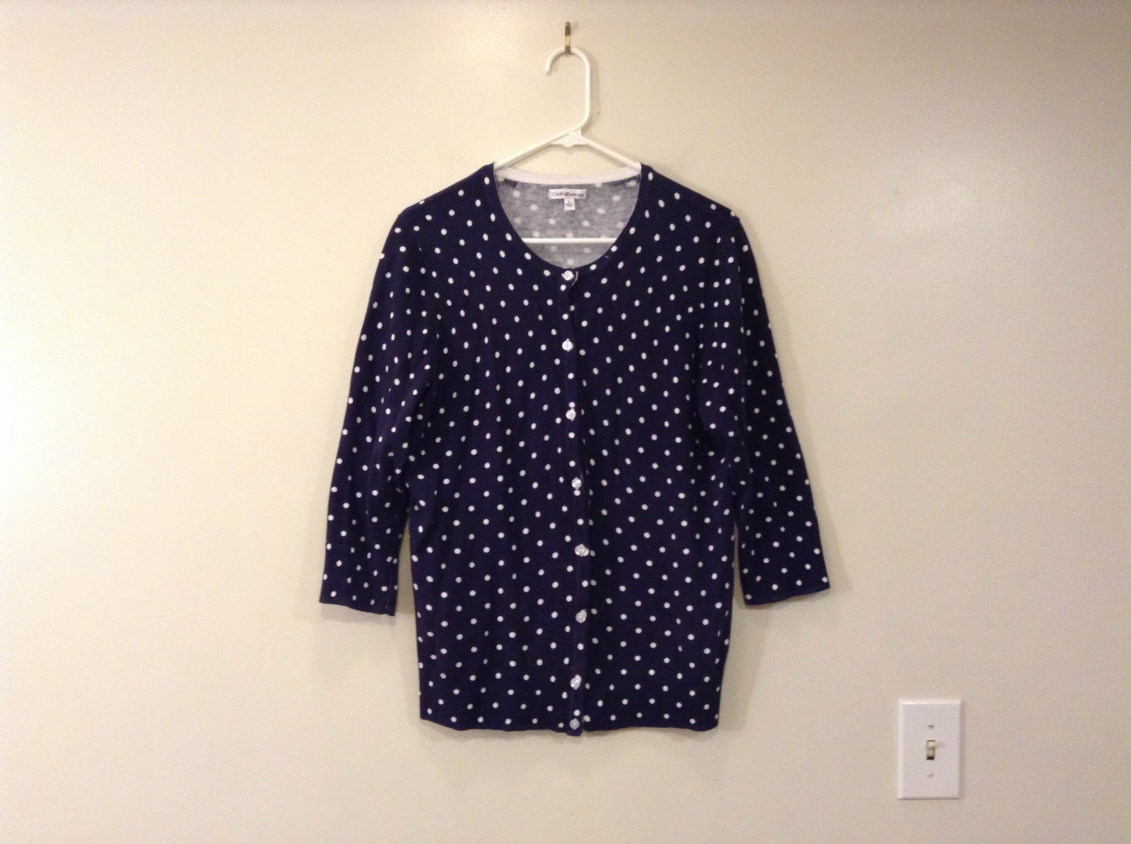Navy Blue with White Polka Dots Button Up Top Size Large Croft and Barrow