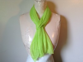 Neon Lime Green Sheer Material Long Scarf 12 Inches by 63 Inches