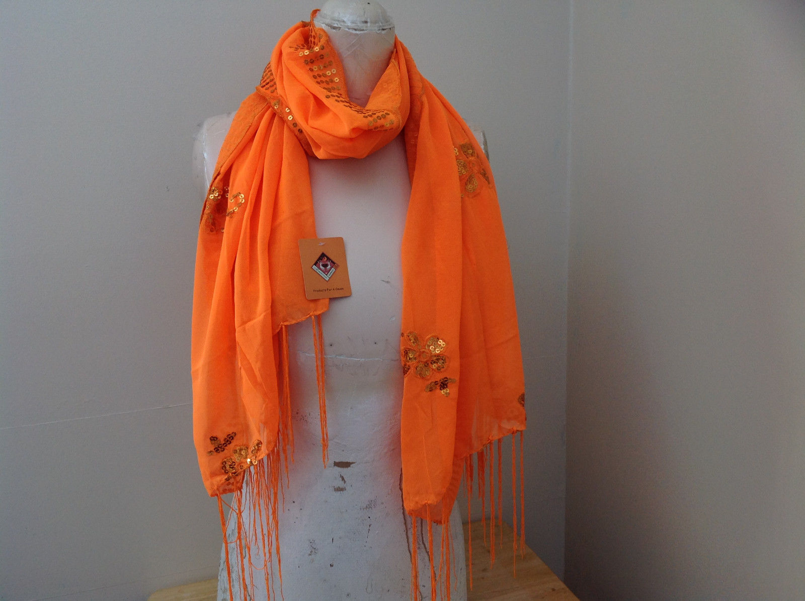 Neon Orange Sheer Scarf with Sequin Designs and Tassels Length 68 Inches