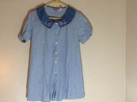 """New Addition Maternity"" Blue Checkered Short Sleeve Button Up Shirt Size Medium"