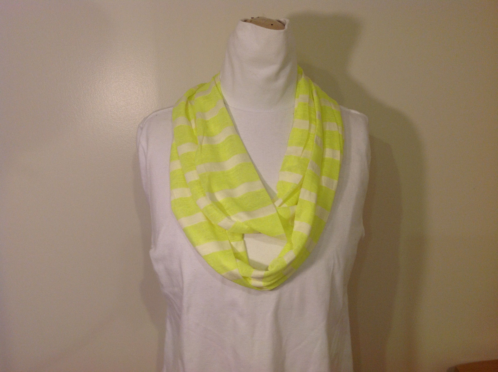 Neon Lime Striped Fashion Infinity Scarf New Lemon Lime White