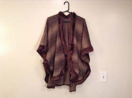New Brown Beige Faux Fur Trimmed Wrap Shawl Duster w Decorative Pin image 1