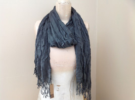 New Gray Scrunched Style Tasseled Scarf by Look Tag Attached Length 65 Inches