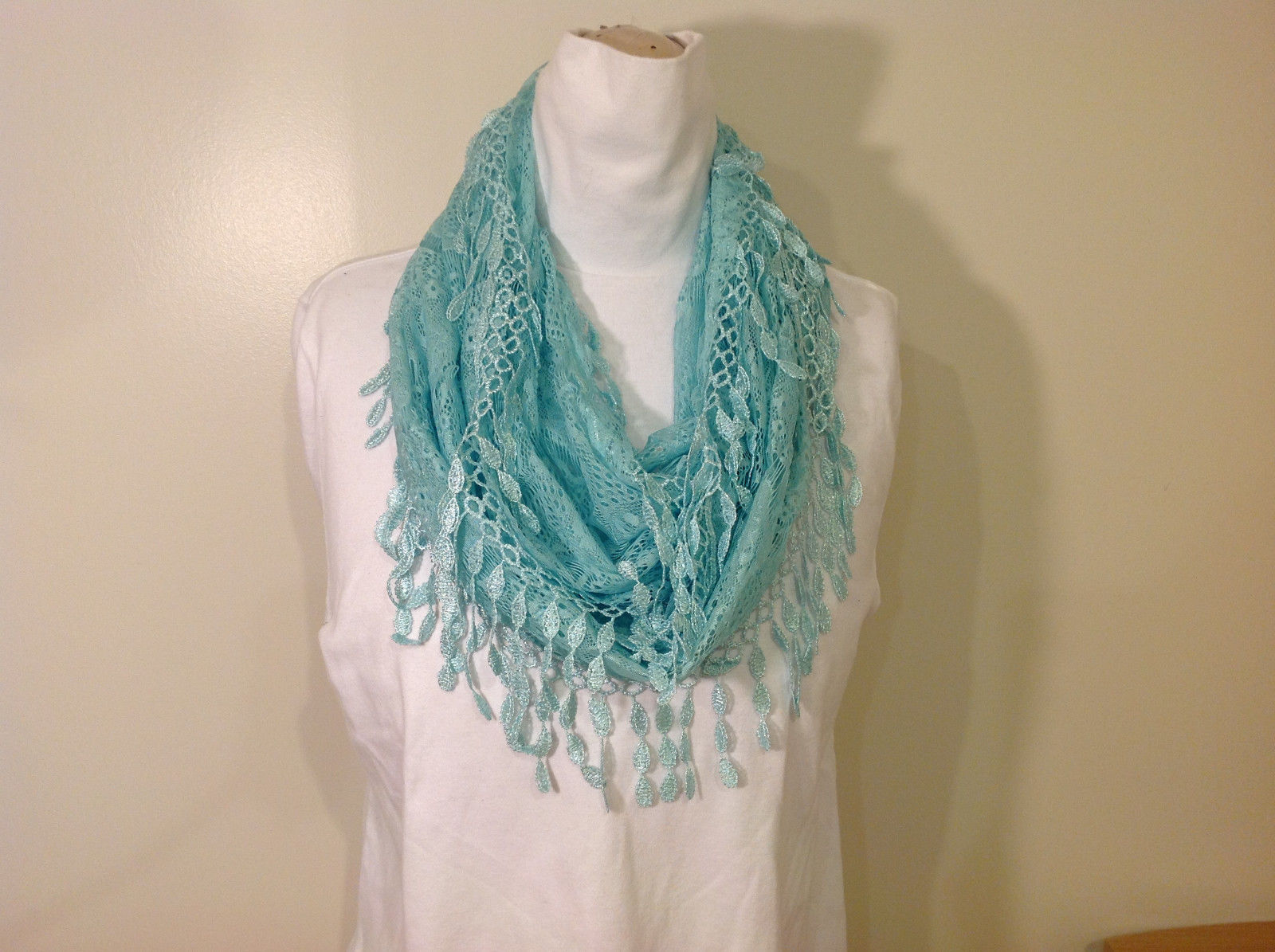 New Infinity Scarf with Lace Fringe Mint Color Polyester