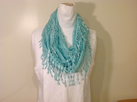 New Infinity Scarf with Lace Fringe Mint Color Polyester - £19.04 GBP