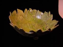 New Handmade Ceramic Bowl  Castor Leaf by Suzanna