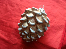 New Melrose Glass Pinecone Ornament Snow on Tips -  4 Inches High Brown Lt or Dk