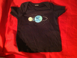 New Kids Threadless Short Sleeve Blue Shirt World & Moon Size 18 Months