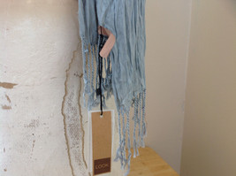 Light Gray Silk Cotton Scrunch Style Scarf with Tassels by Look Tag Attached image 6