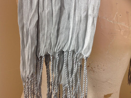 Light Gray Silk Cotton Scrunch Style Scarf with Tassels by Look Tag Attached image 4