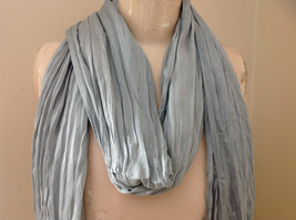 Light Gray Silk Cotton Scrunch Style Scarf with Tassels by Look Tag Attached image 3