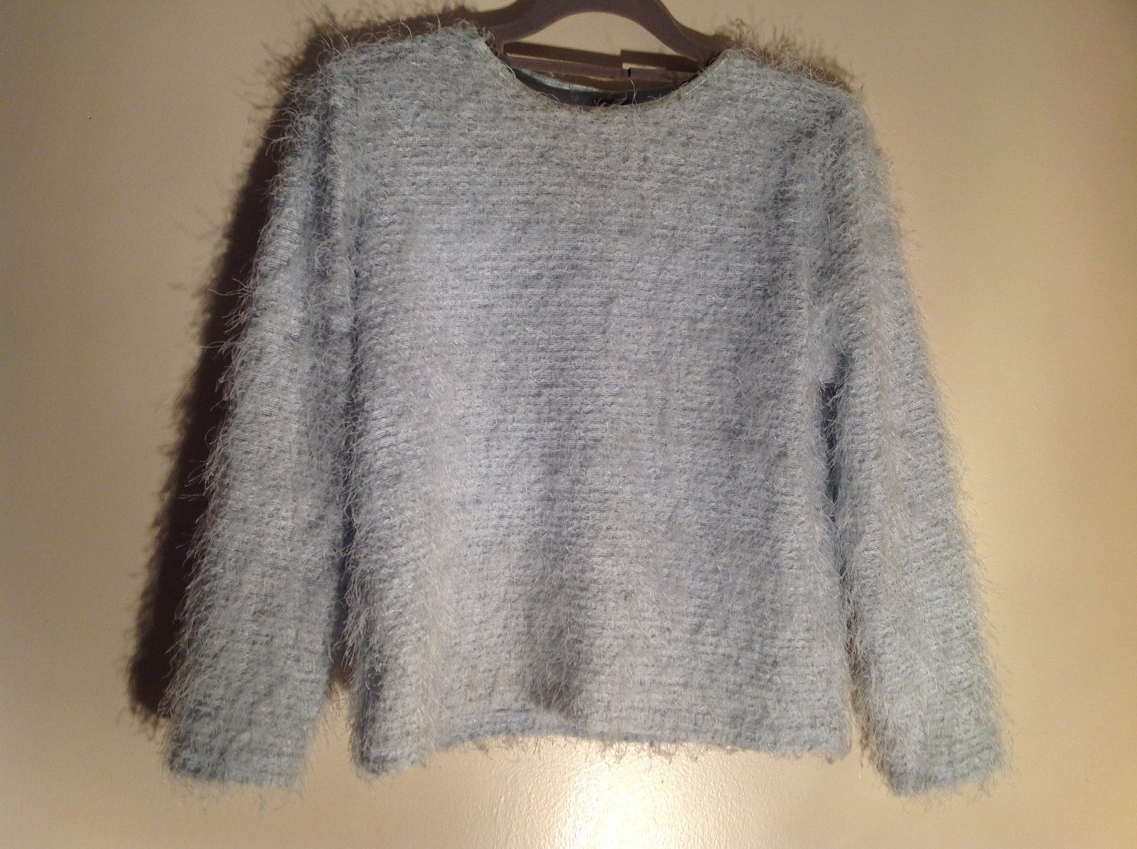 New Moves Light Blue Long Sleeve Short Fuzzy Stretchy Sweater Size Large Plus