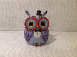New Piggy Bank Owl with Big Glasses and Cylinder Hat, Blue Violet