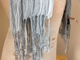 Light Gray Silk Cotton Scrunch Style Scarf with Tassels by Look Tag Attached image 5