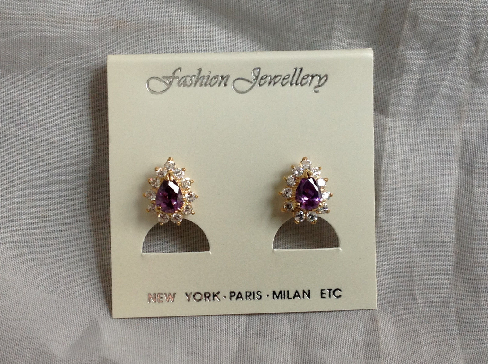 New Pretty Gold Tone Purple White Stone Drop Shaped Stud Earrings