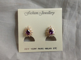 New Pretty Gold Tone Purple White Stone Drop Shaped Stud Earrings image 1