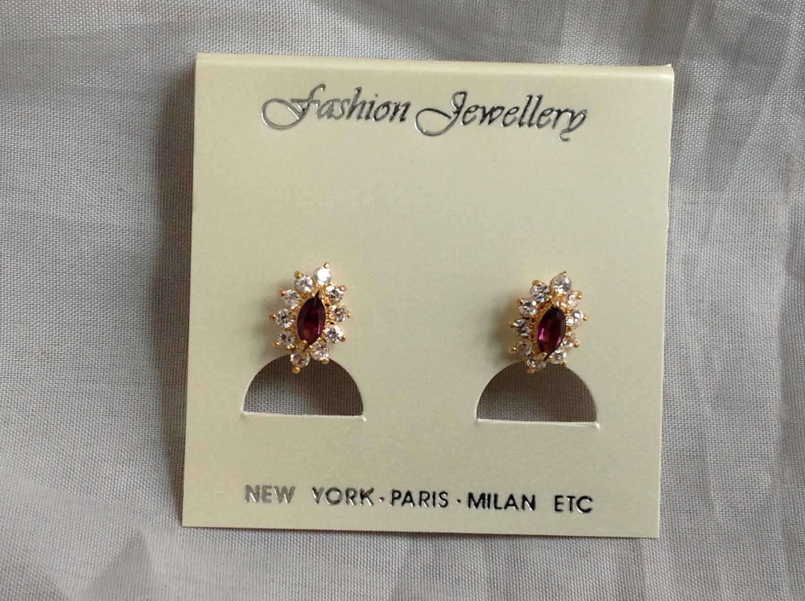 New Pretty Gold Tone Purple White Stone Stud Earrings