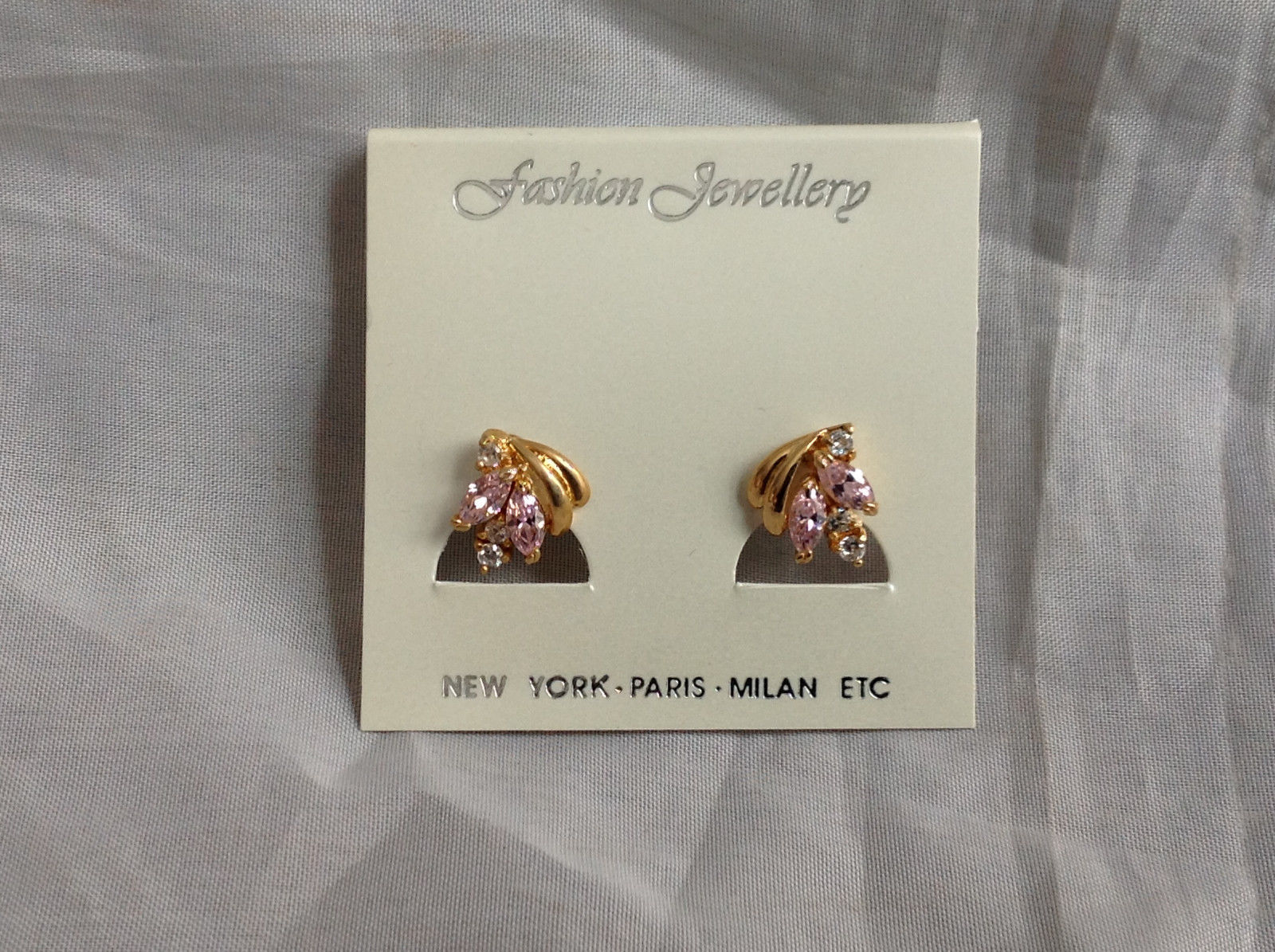 New Pretty Gold Tone Pink White Stone Stud Earrings