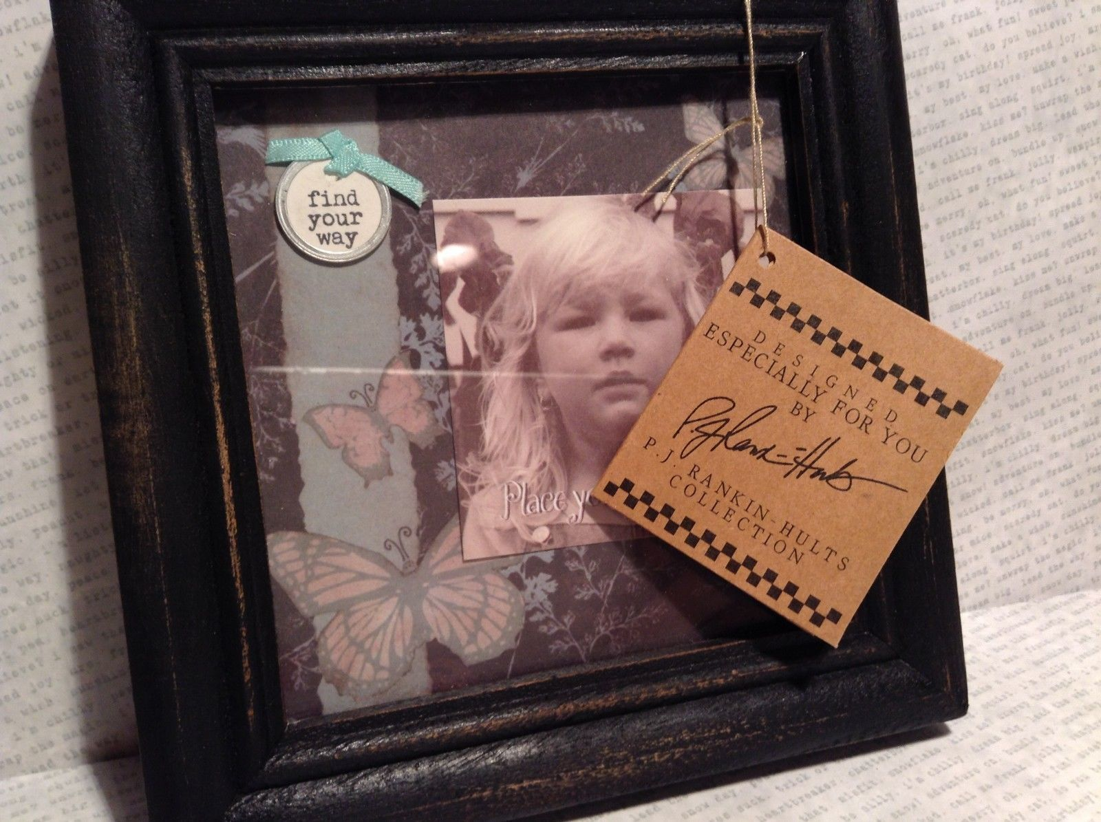 New Primitives Photo Frame Vintage Look and Feel Butterfly Background