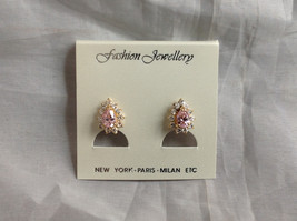 New Pretty Gold Tone Pink White Stone Drop Shaped Stud Earrings