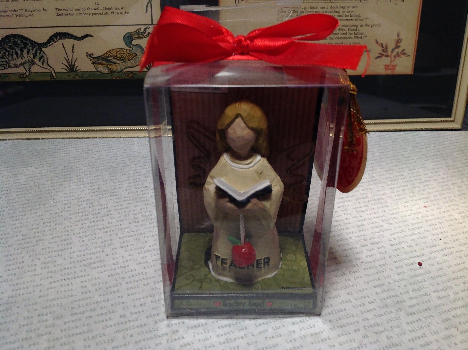New Teacher Angel Resin with Book and Apple in Gift Box New with Tags Attached