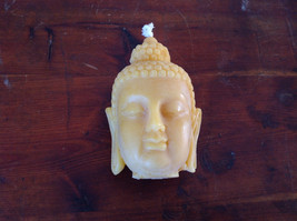 New Unique Yellow  Buddha Head Pure Bees Wax Candle 4 Inches High