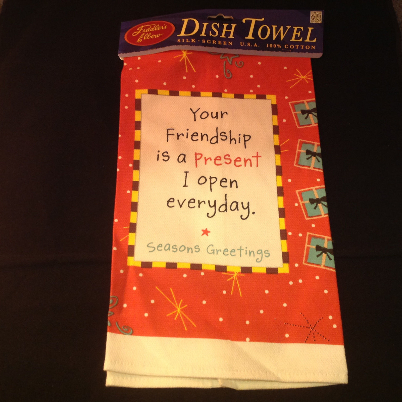 New Your Friendship is a Present I Open Everyday Kitchen Christmas Towel