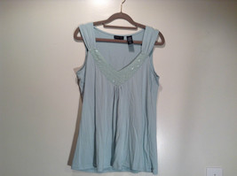 New York and Company Size S Sleeveless Tank Top Light Blue Green Graphic Front image 1