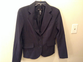 New York and Company Stretch Lined Gray w Navy  Blazer 2 Button Closure ... - $59.35