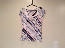 New York and Company Short Sleeve Top White with Blue Red Yellow Stripes Size M image 1
