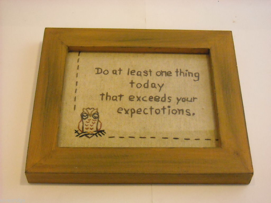 New primitive embroidered framed Exceed your Expectations with stitched owl