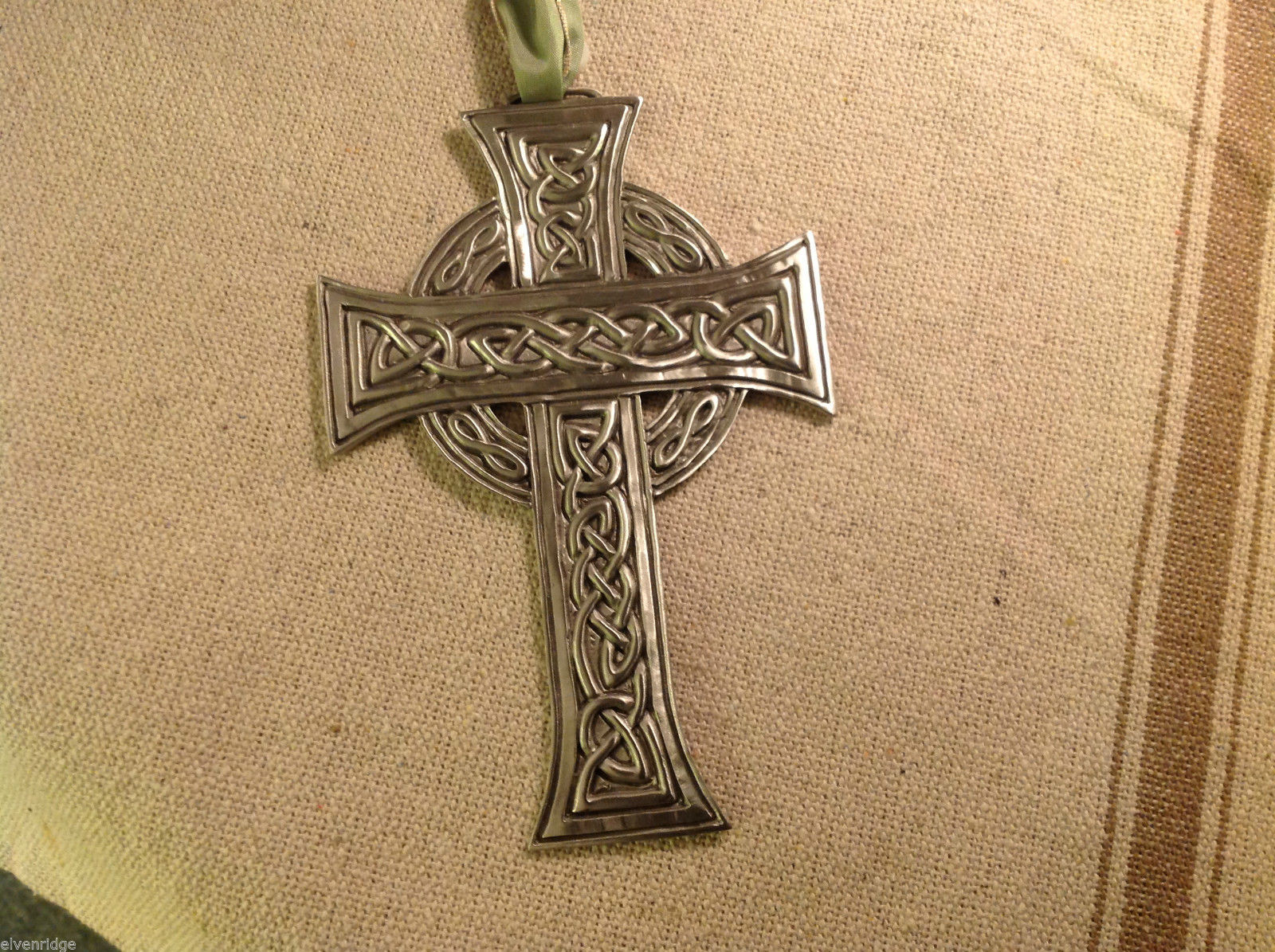 New with tags Pewter hand made Celtic cross hanging wall ornament Kells prayer